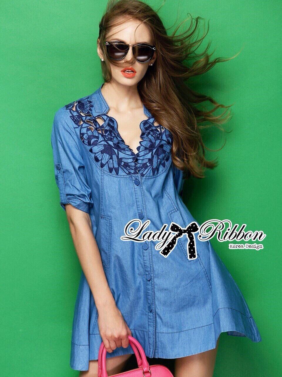 Lady Rosalie Smart Chic Embroidered Denim Shirt Dress