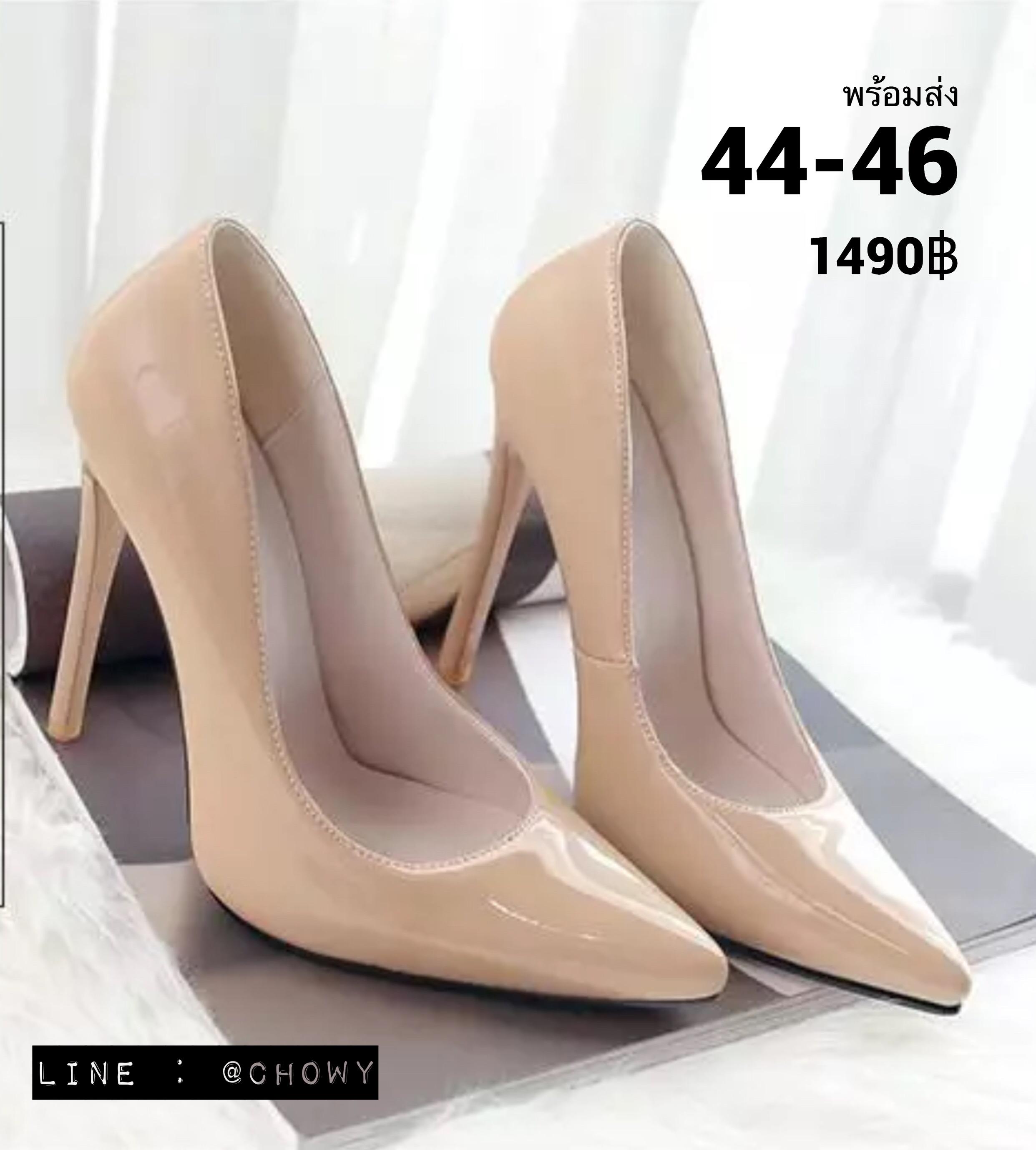 รองเท้าส้นสูงไซส์ใหญ่ 44-46 หัวแหลม ส้นสูง 12 ซม สีนู๊ด รุ่น KR0697