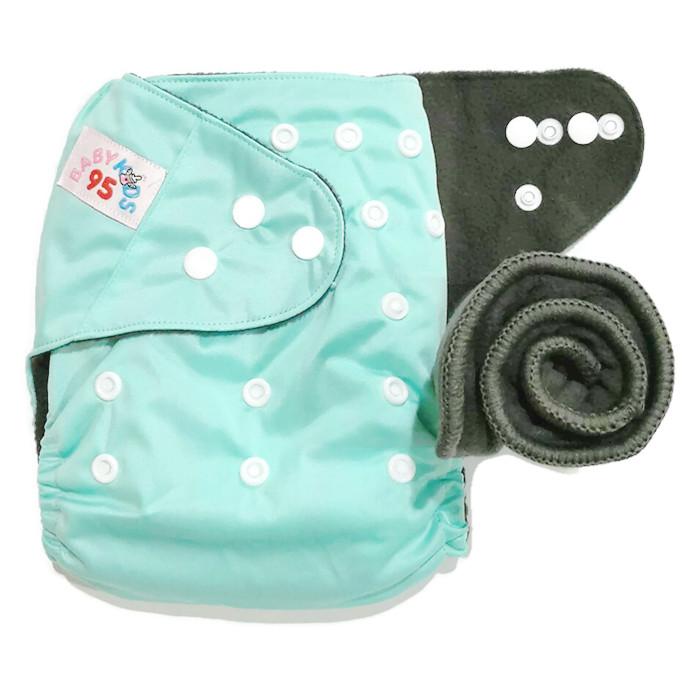 กางเกงผ้าอ้อมชาโคลขอบปกป้อง-สีพื้น แถมแผ่นซับชาโคล5ชั้น -ฟ้าสว่าง