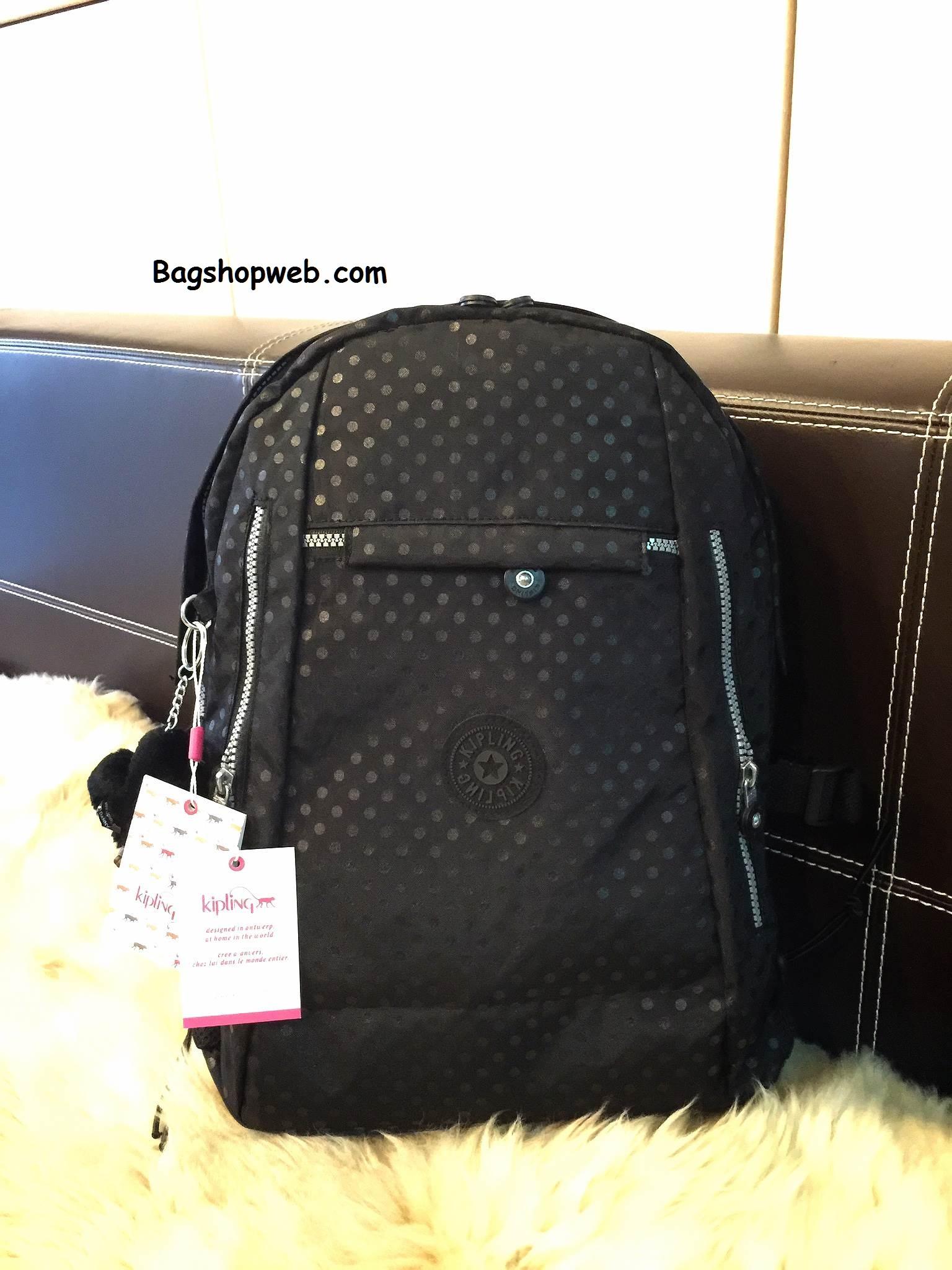 กระเป๋า KIPLING NYLON CITY BACKPACK สีดำลายจุด