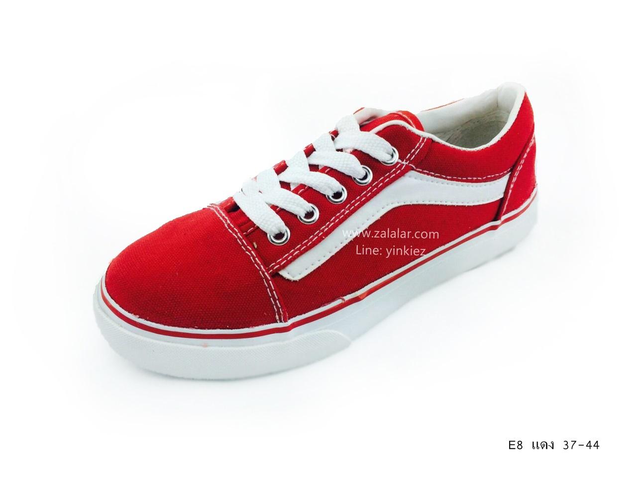 [พร้อมส่ง] รองเท้าผ้าใบแฟชั่น รุ่น E-8 สีแดง