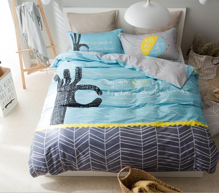 ผ้าปูที่นอน ลายการ์ตูน สีฟ้า