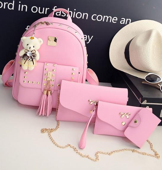 Fashion Korea PU set 4 ใบ (สีชมพู)
