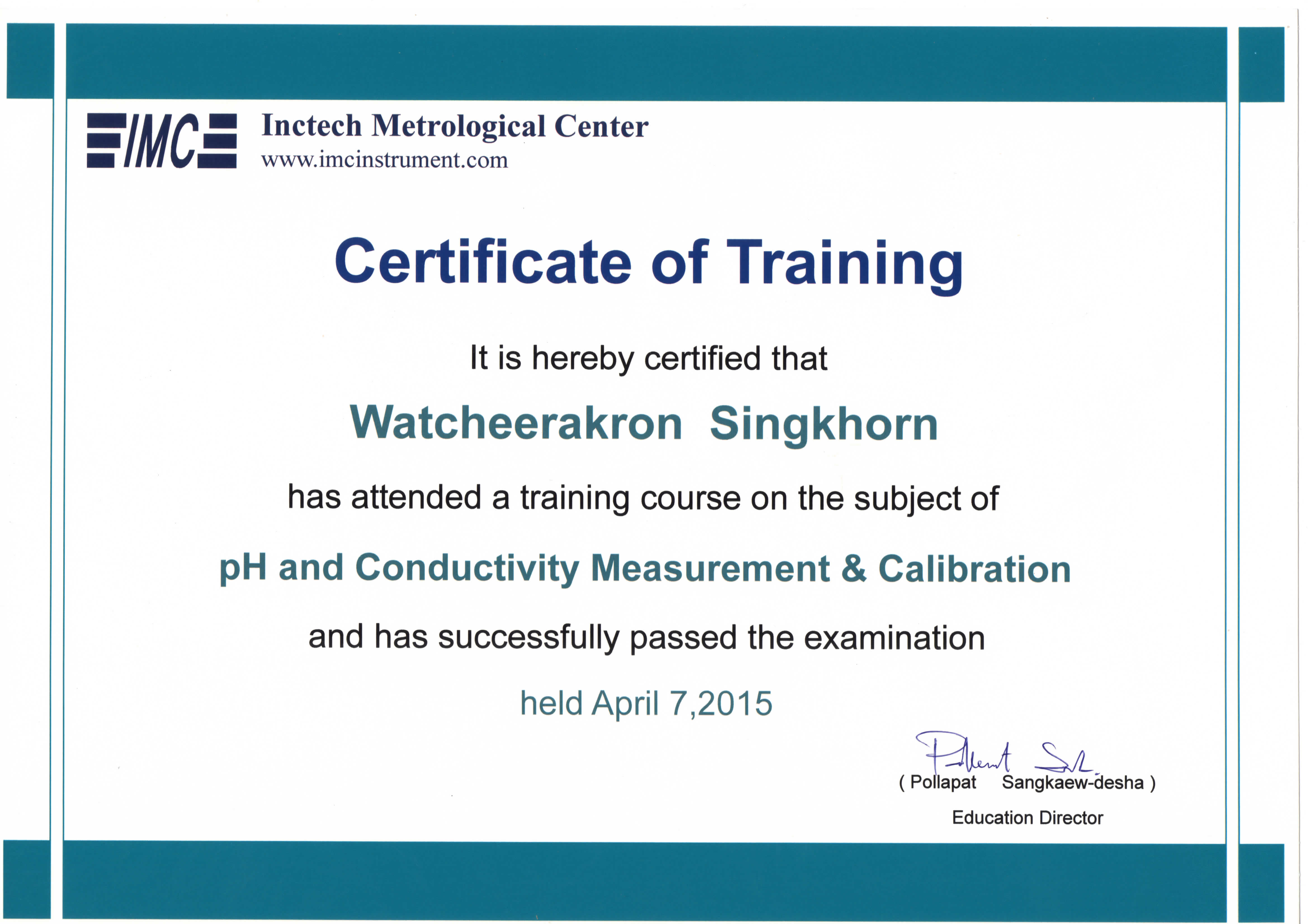 pH and conductivity Certificated