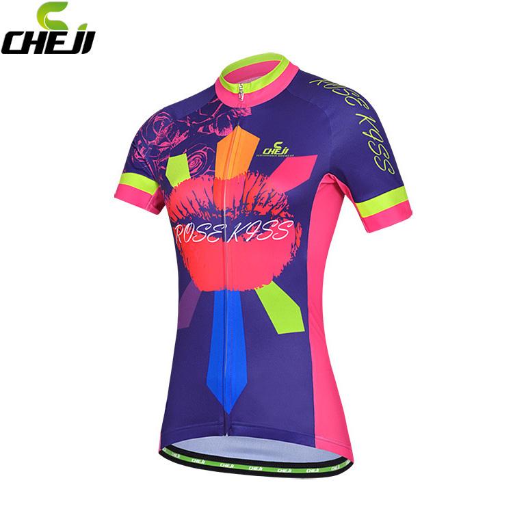 เสื้อจักรยานผู้หญิงแขนสั้น CheJi สีน้ำเงินลาย Rose Kiss สั่งจอง (Pre-order)