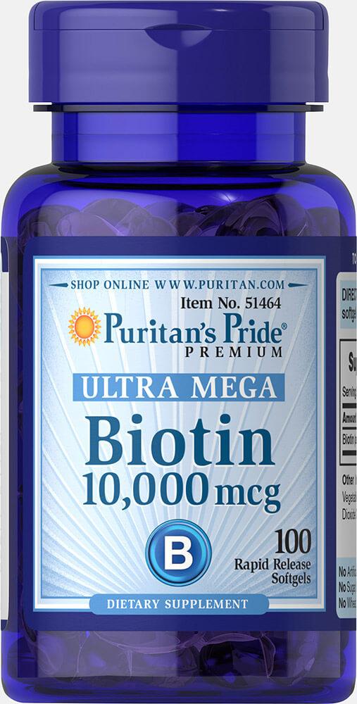 อาหารเสริมบำรุง เล็บ ผม และผิวพรรณ Puritan's Pride Ultra Biotin 10,000 mcg ขนาด 100 Sofgels