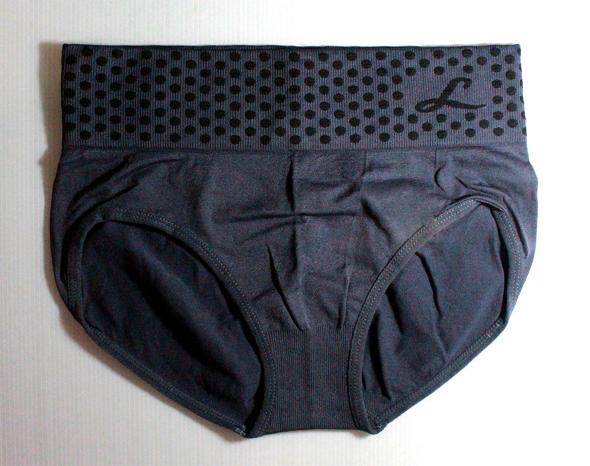 กางเกงในเอวสูง กางเกงในขอบใหญ่ L ลายจุด สีเทา