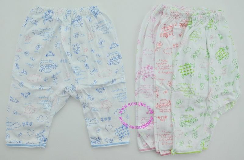 กางเกงต่อกันขายาว ผ้า cotton 100% พิมพ์ลายการ์ตูน ใส่ได้ตั้งแต่แรกเกิด
