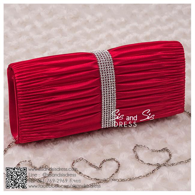 BS0001 กระเป๋าคลัช สีแดง กระเป๋าออกงานพร้อมส่ง ราคาถูกกว่าเช่า แบบสวยๆ ดูดีเหมือนดาราใช้