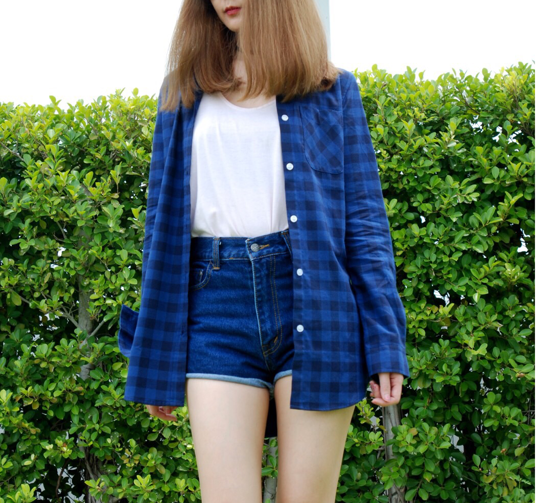 เสื้อคลุมลายสกีอตผู้หญิง สีน้ำเงิน
