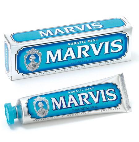 *พร้อมส่ง*MARVIS Aquatic Mint Toothpaste 75ml. (หลอดสีฟ้า/น้ำเงิน) ยาสีฟันชั้นเลิศจากอิตาลี สูตรหอมสดชื่นจาก มิ้นต์ และ Cinnamon ดุจเหมือนอยู่ท่ามกลางมหาสมุทรยามเช้าที่สดใส มอบลมหายใจที่หอม สดชื่น ลดกลิ่นไม่พึงประสงค์ ลดการสะสมของแบคทีเรียในช่องปาก ,