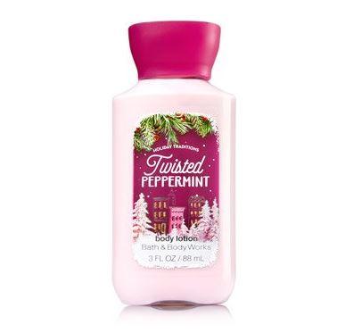 **พร้อมส่ง**Bath & Body Works Twisted Peppermint Shea & Vitamin E Body Lotion 88 ml. โลชั่นบำรุงผิวสุดพิเศษ อีกทั้งมีกลิ่นหอมติดทนนาน กลิ่นหอมเปปเปอร์มิ้นท์ หอมสดชื่นโล่งจมูกคะ ผสมกับกลิ่นวนิลลา ให้กลิ่นที่หอมสดชื่นไม่ฉุน ,