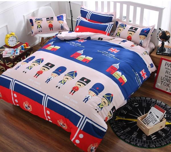 (Pre-order) ชุดผ้าปูที่นอน ปลอกหมอน ปลอกผ้าห่ม ผ้าคลุมเตียง ผ้าโพลีเอสเตอร์พิมพ์ลายการ์ตูนแฟนซีลายสามทหาร