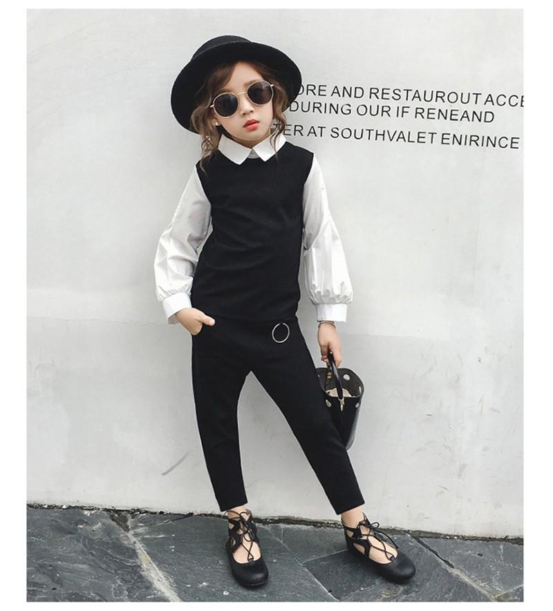 เสื้อแขนยาวสีขาวติดเสื้อกั๊กสีดำ+กางเกงขาวยาว