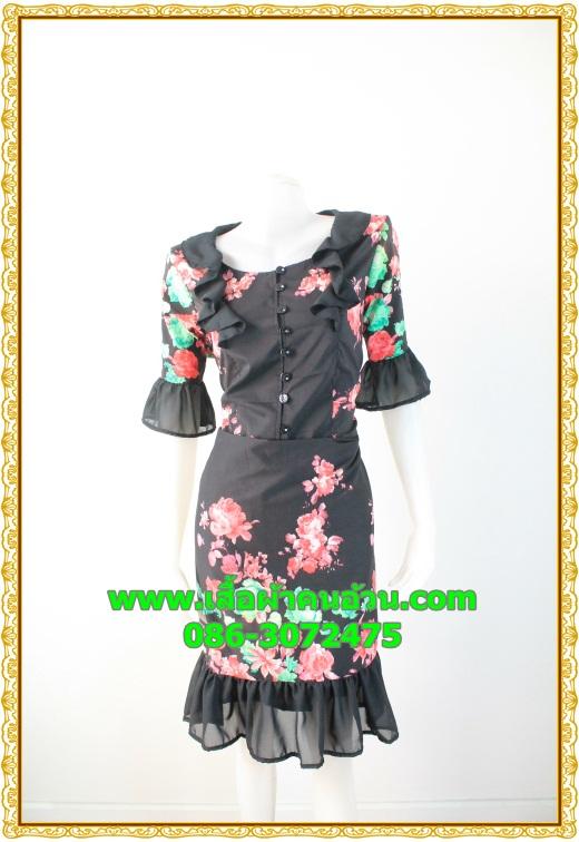 2784ชุดทํางาน เสื้อผ้าคนอ้วนผ้าไหมอิตาลี่พิมพ์ลายดอกสีดำโดดเด่นสะดุดตาแขนทรงกระดิ่งคอกลมระบายรอบ สวมใส่สบายหรูหราอลังการเลือกใส่เป็นชุดออกงานเลิศหรู