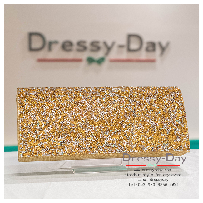 กระเป๋าออกงาน TE029: กระเป๋าออกงานพร้อมส่ง สีทอง ดีเทลเพชรสุดหรู ราคาถูกกว่าห้าง ถือออกงาน หรือ สะพายออกงาน สวย หรู ดูดีมากค่ะ