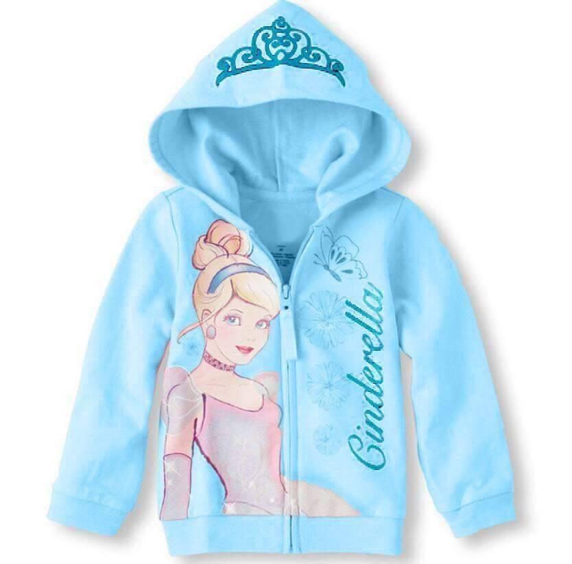 เสื้อกันหนาว ซินเดอเรลล่า มีฮูด ซิปหน้าสีฟ้า