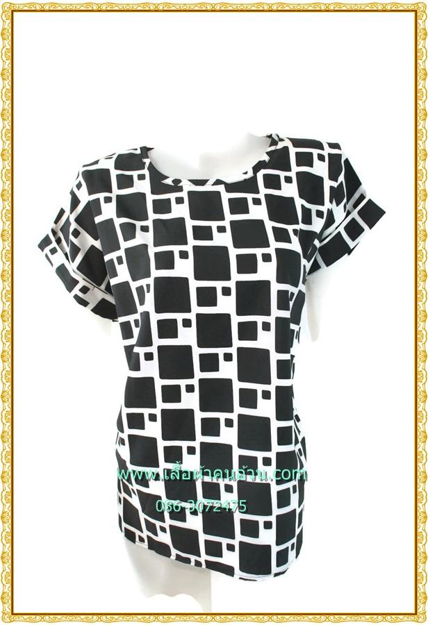3249เสื้อคนอ้วนผ้าไหมอิตาลี่เนื้อเบาสวมใส่สบายผิวลื่นพิมพ์ลายกราฟฟิคขาวดำคอกลมแขนเบิ้ลอก40-46เอว37-42