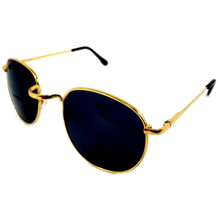 แว่นกันแดด ทรง Round Metal กรอบสีทอง เลนส์สีดำ 39 บาท