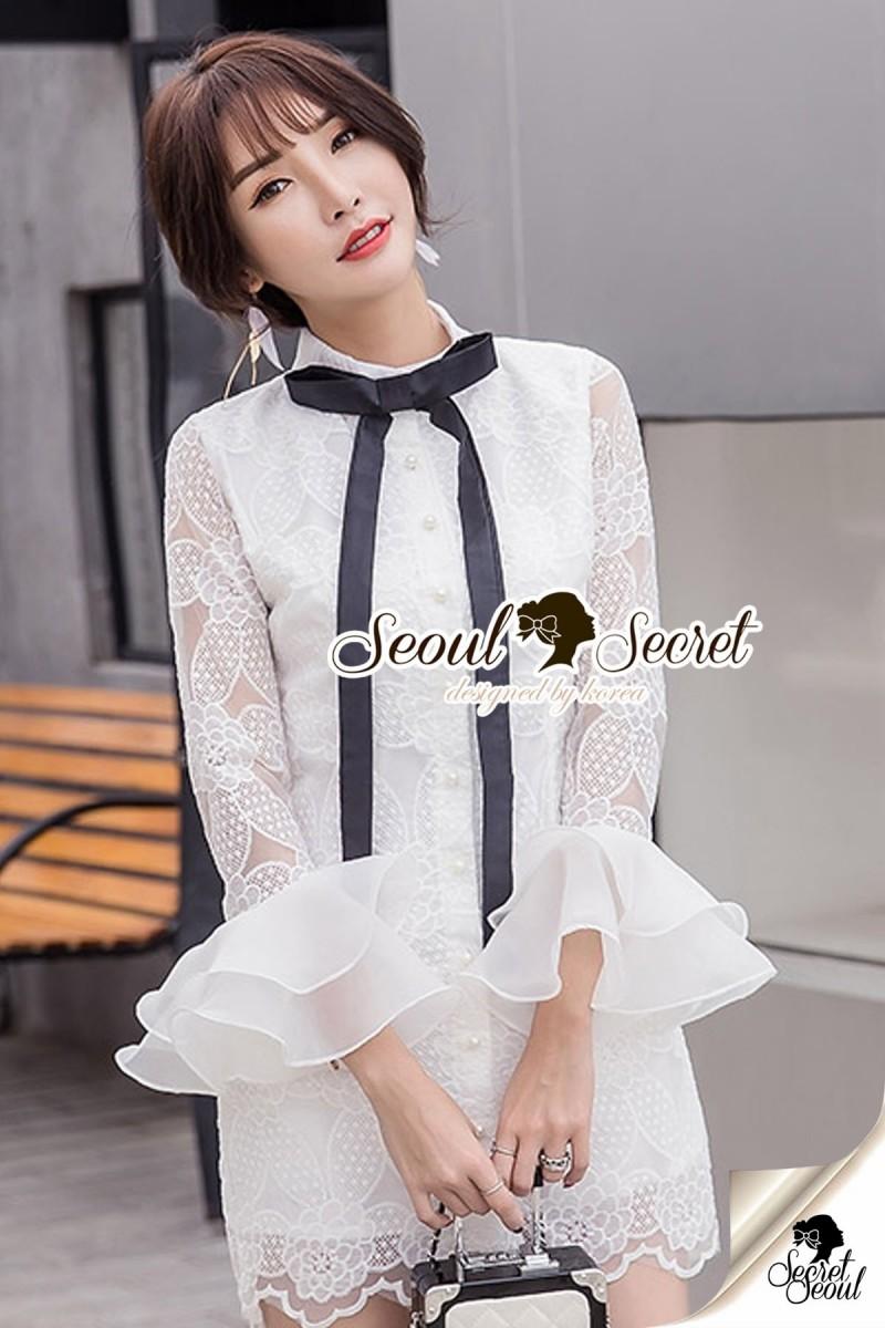 Seoul Secret Say's... Blackly Ribbin Tie Ivory Lace Dress