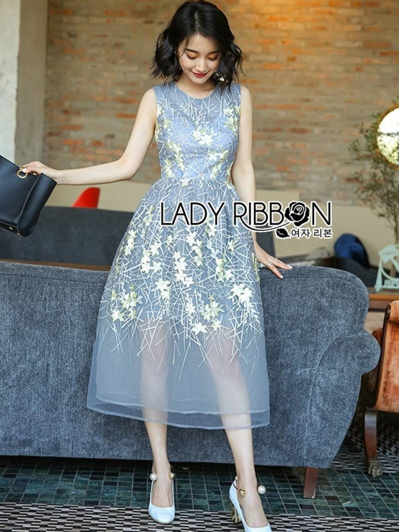 Lady Ribbon's Made Lady Everlyn Sweet Floral Embroidered Organza Dress