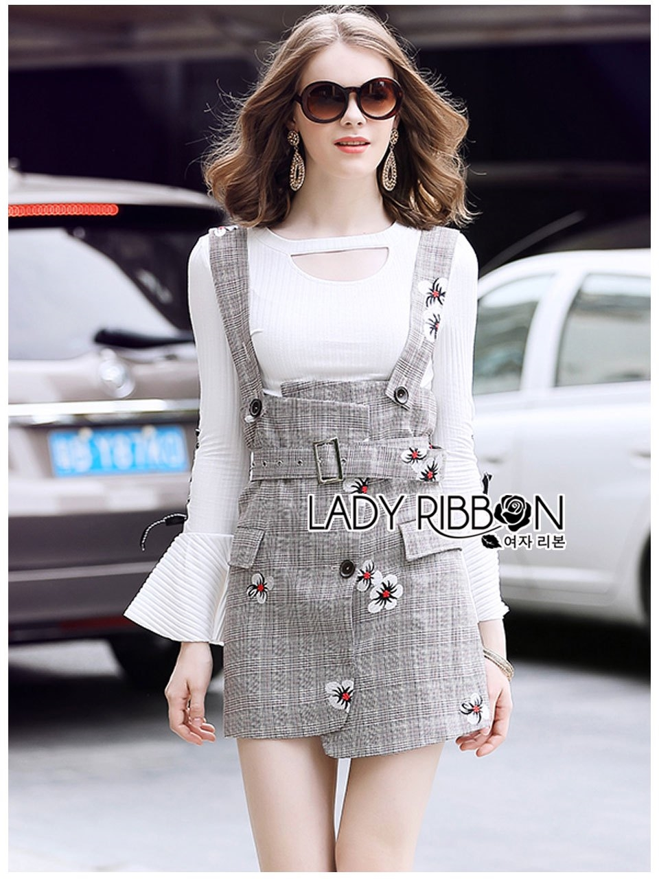 🎀 Lady Ribbon's Made 🎀 Lady Amber Embroidered Houndstooth Suit Dress Over White Blouse Set