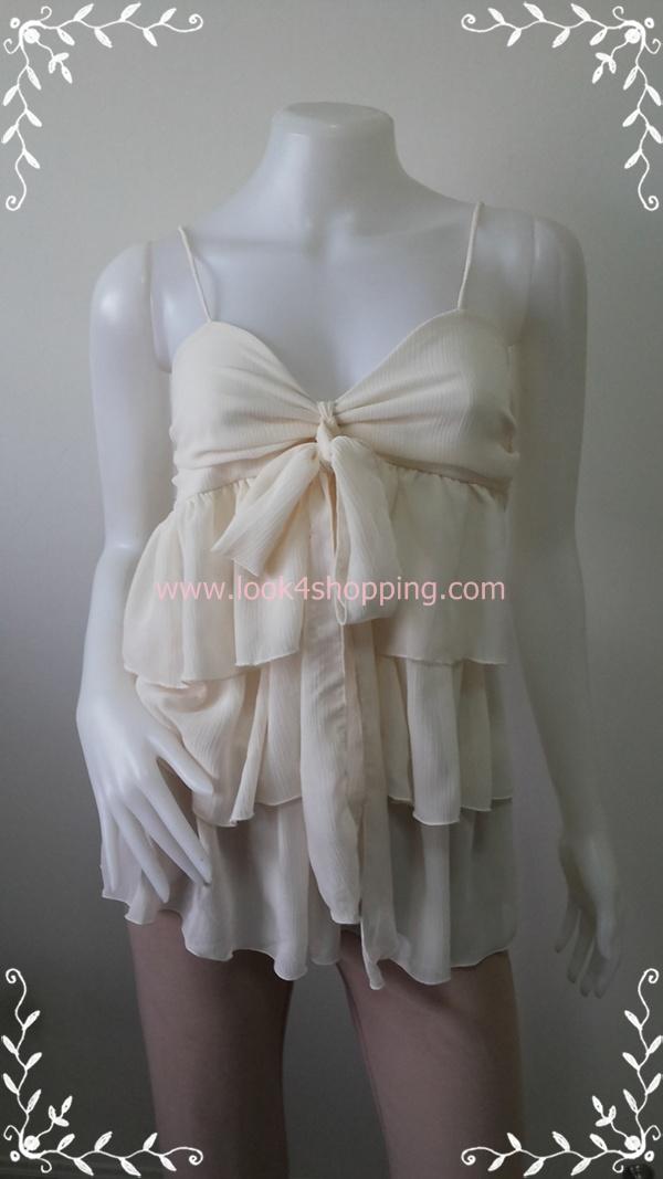 jp2241-เสื้อผ้ามือสอง ชีฟอง สีครีม Molli & Mia อก 28-34 นิ้ว