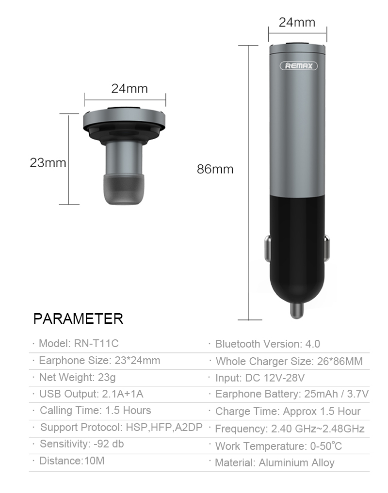 Remax Car Charger คุณภาพดี ทนทาน เป็นที่ชาร์จในรถยนต์ แบบ USB 2 ช่องและมี หูฟัง Bluetooth เพื่อเพิ่มความปลอดภัยแก่ผู้ใช้งานสำหรับใช้งานขณะขับรถยนต์ ขาล็อคเป็นแบบ สปริงเพื่อการยึดเกาะช่องเสียบบุหรี่ในรถที่ดียิ่งกว่า ปล่อยกระแสไฟสูงสุด 2.1 และรองรับการ เชื่อมต่ออุปกรณ์ที่หลากหลาย มีขนาดเล็กกระทัดรัด ประหยัดพื้นที่ในการจัดเก็บ