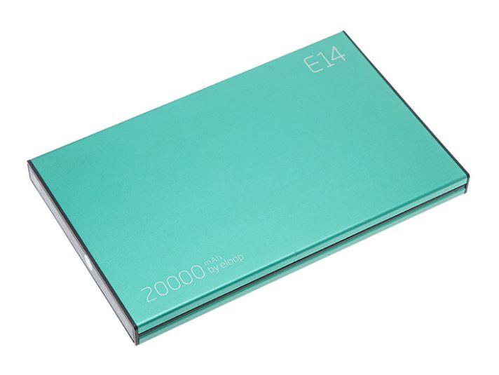 Power bank ELOOP E14 แบตสำรองแบบพกพา คุณภาพสูง ผลิตจากอลูมิเนียมอัลลอยด์อย่างดี แข็งแรง ทนทาน พร้อมซองเรียบหรู คุณภาพแบตเตอรี่ เกรดA ลิเธียมโพลีเมอร์ (Lithium Polymer) มีให้เลือก 4 สี เลือกได้ตามสไตล์ที่เป็นคุณ มีไฟ LED สีน้ำเงิน บอกสถานะ ความจุแบตเตอรี่ (ไฟ 4 ดวง แสดงเมื่อความจุแบตคงเหลือ 25% 50% 75% 100%) ความจุสูง 20000mAh ชาร์จได้หลายครั้ง ขนาดเล็ก และบางกว่า Power Bank รุ่นอื่นๆที่มีขนาดความจุเท่ากัน มีพอร์ท USB output 2 ช่อง สามารถชาร์จอุปกรณ์ 2 เครื่องพร้อมกันได้