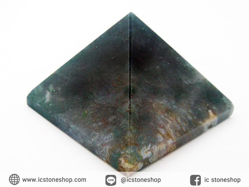 หินทรงพีระมิค- มอสอาเกต Moss Agate (144g)
