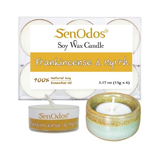 เทียนหอม เทียนทีไลท์ อโรม่า Frankincense & Myrrh Tealight Soy Candle Aroma 15g x6 PCS กลิ่นกำยาน & มดยอบ + เชิงเทียน ที่วางเทียนทีไลท์ ศิลาดล (เซลาดล) สีเขียวหยกขอบทอง