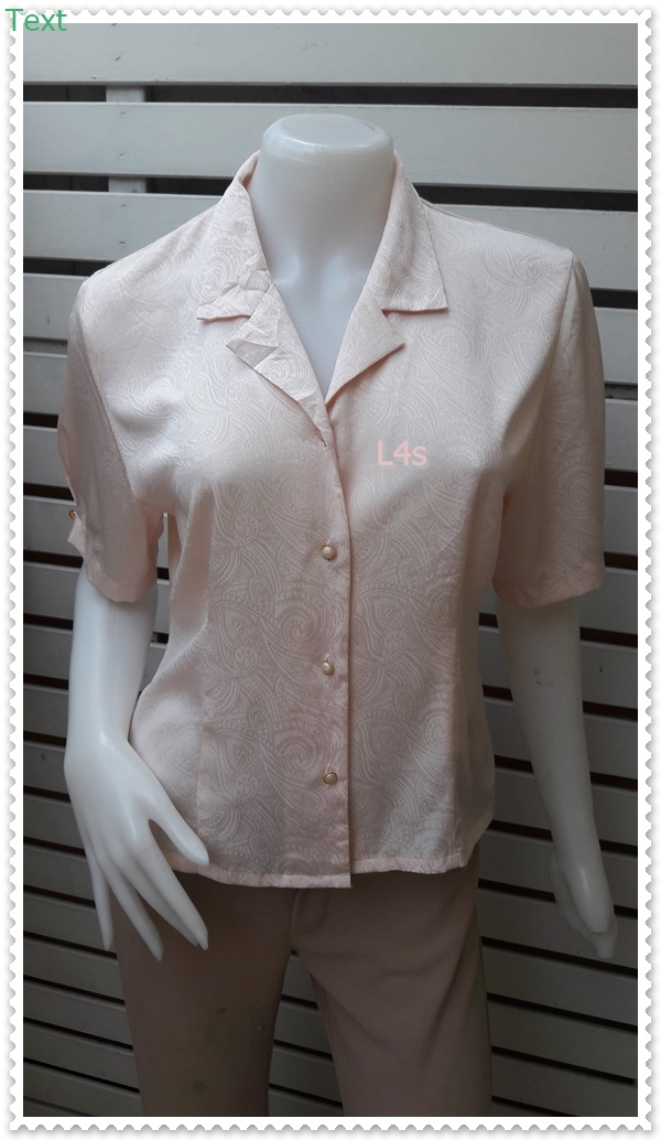 jp5041-เสื้อแฟชั่น วินเทจ สีโอรส อก 38 นิ้ว
