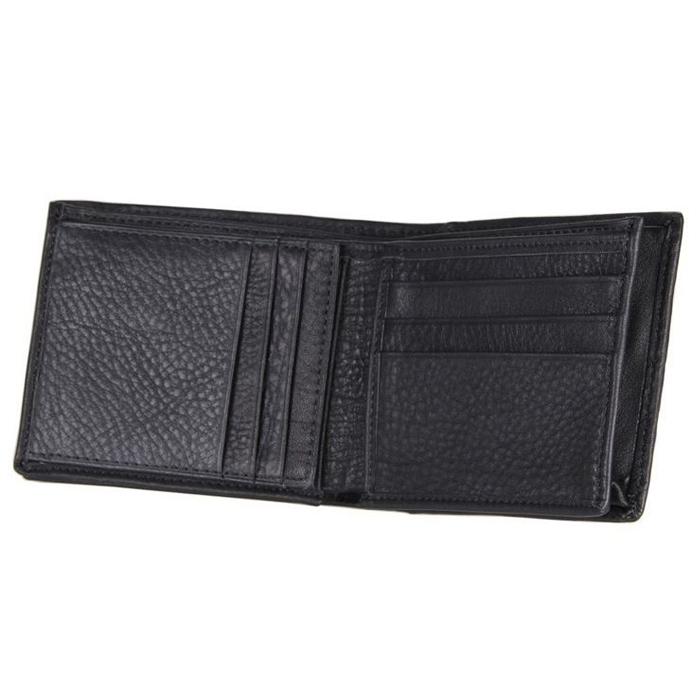 GT-8055 กระเป๋าสตางค์ผู้ชาย ใบสั้น หนังแท้ สีดำ