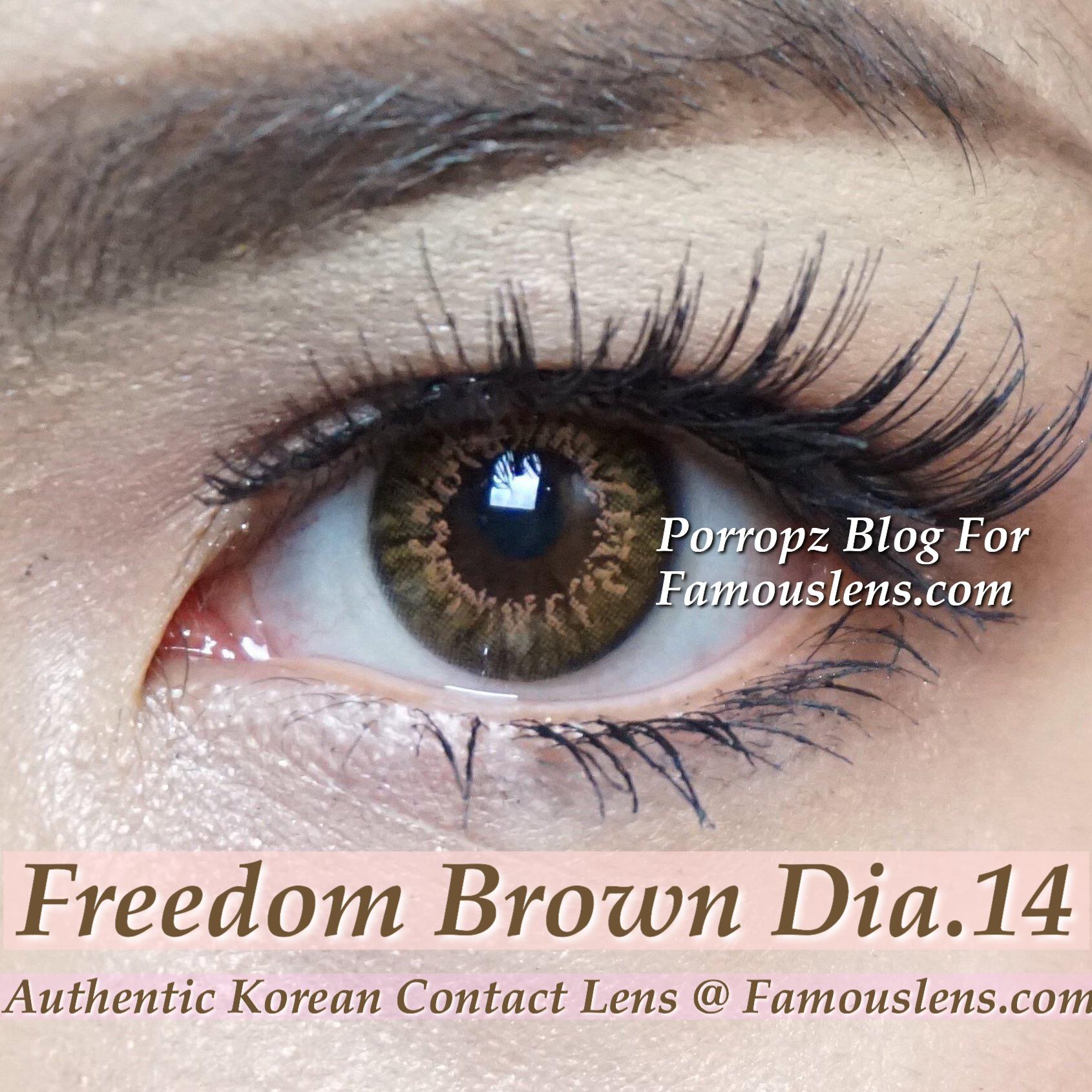 Freedom Brown คอนแทคเลนส์สีน้ำตาล ขนาดพอดีตา รุ่น ญาญ่า เลนส์นิ่ม บาง ใส่สบาย