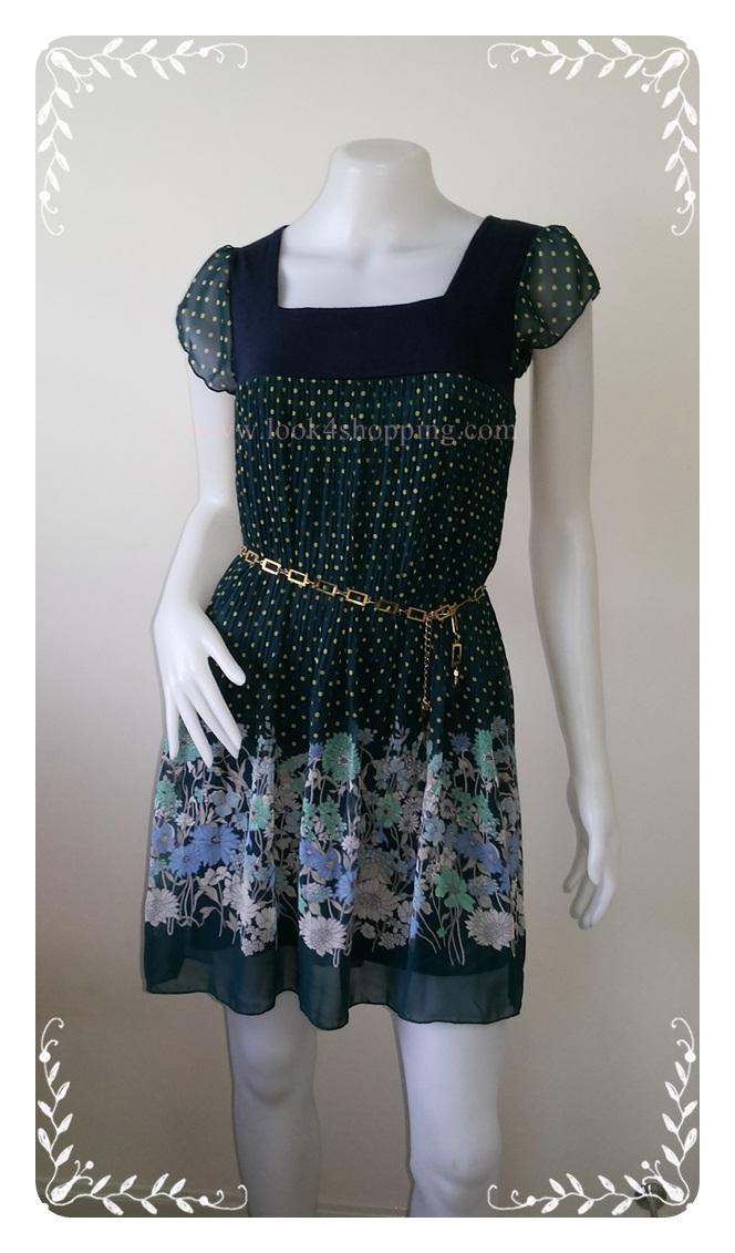 """Dress0549--เดรสแฟชั่น ชีฟอง สวยๆ สีเขียว SILENT WORTH """"อก 30-34 นิ้ว"""""""
