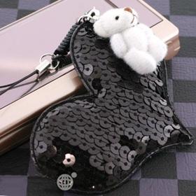 พวงกุญแจหัวใจและน้องหมี สีดำ