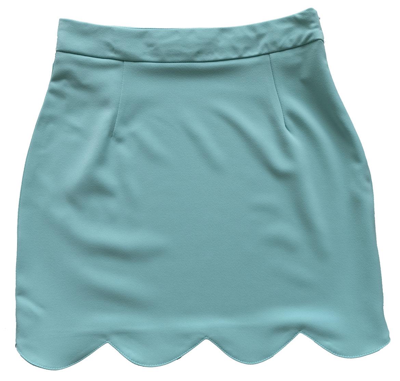 กระโปรงปลายหยัก ผ้าฮานาโกะ สีเขียวมิ้น Size S M L XL