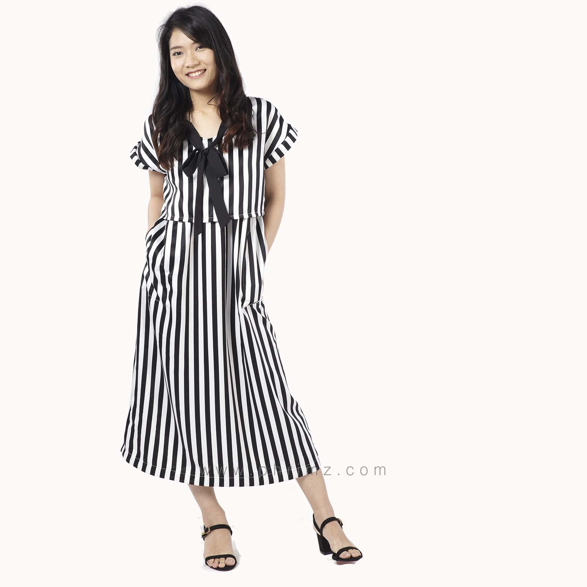 ชุดให้นม Phrimz : Tina Breastfeeding Dress - Black
