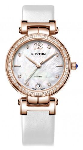 นาฬิกาผู้หญิง Rhythm รุ่น L1504L04, Diamond Sapphire Rose Gold Leather L1504L 04, L1504L-04