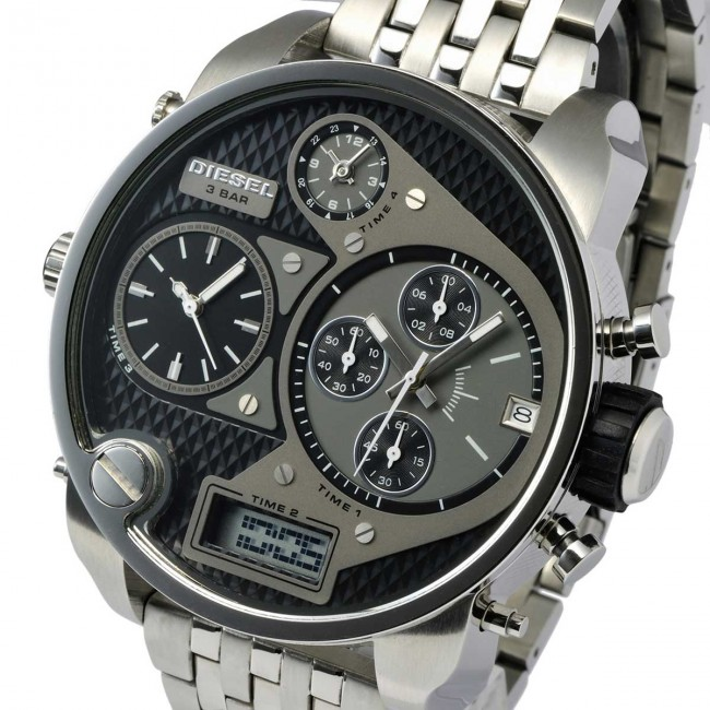นาฬิกาผู้ชาย Diesel รุ่น DZ7221, 'Mr. Daddy' Chronograph 4 Time Zones Stainless Steel Watch