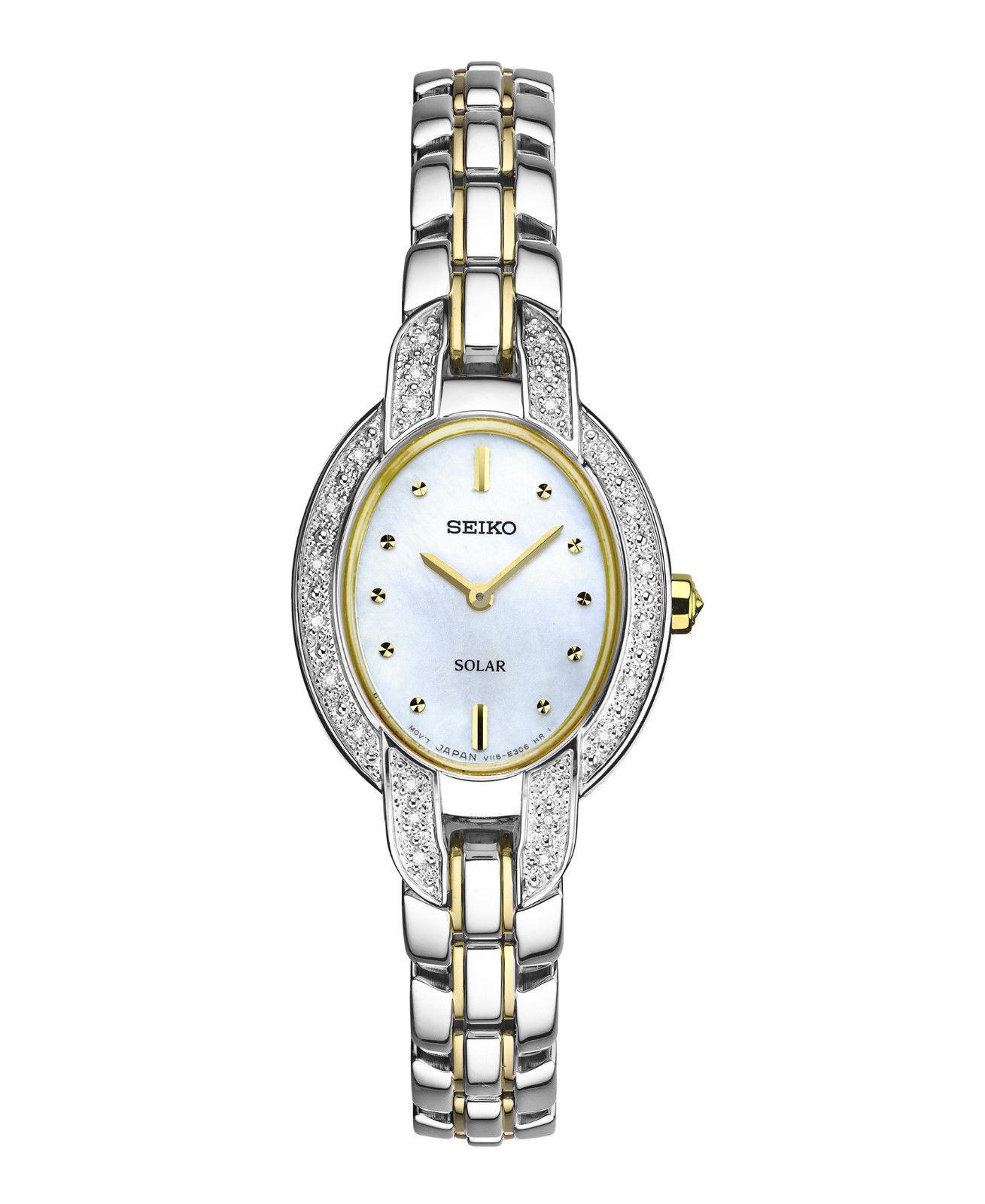 นาฬิกาผู้หญิง Seiko รุ่น SUP325, Solar Diamond Two-Tone Stainless Steel Women's Watch