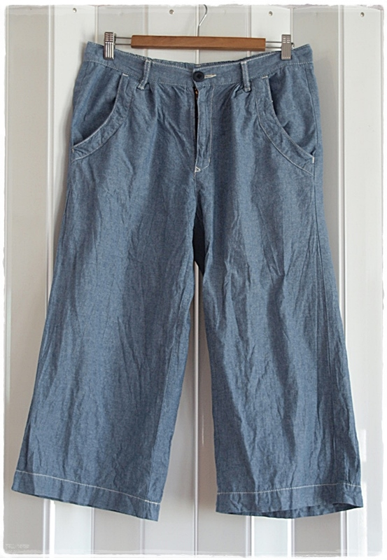กางเกง ขาสี่ส่วน สีฟ้า