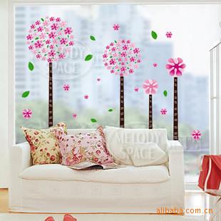 สติกเกอร์ดอกไม้สีชมพู