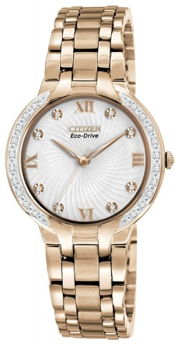 นาฬิกาข้อมือผู้หญิง Citizen Eco-Drive รุ่น EM0123-50A, Rose Gold Tone Diamond Elegant