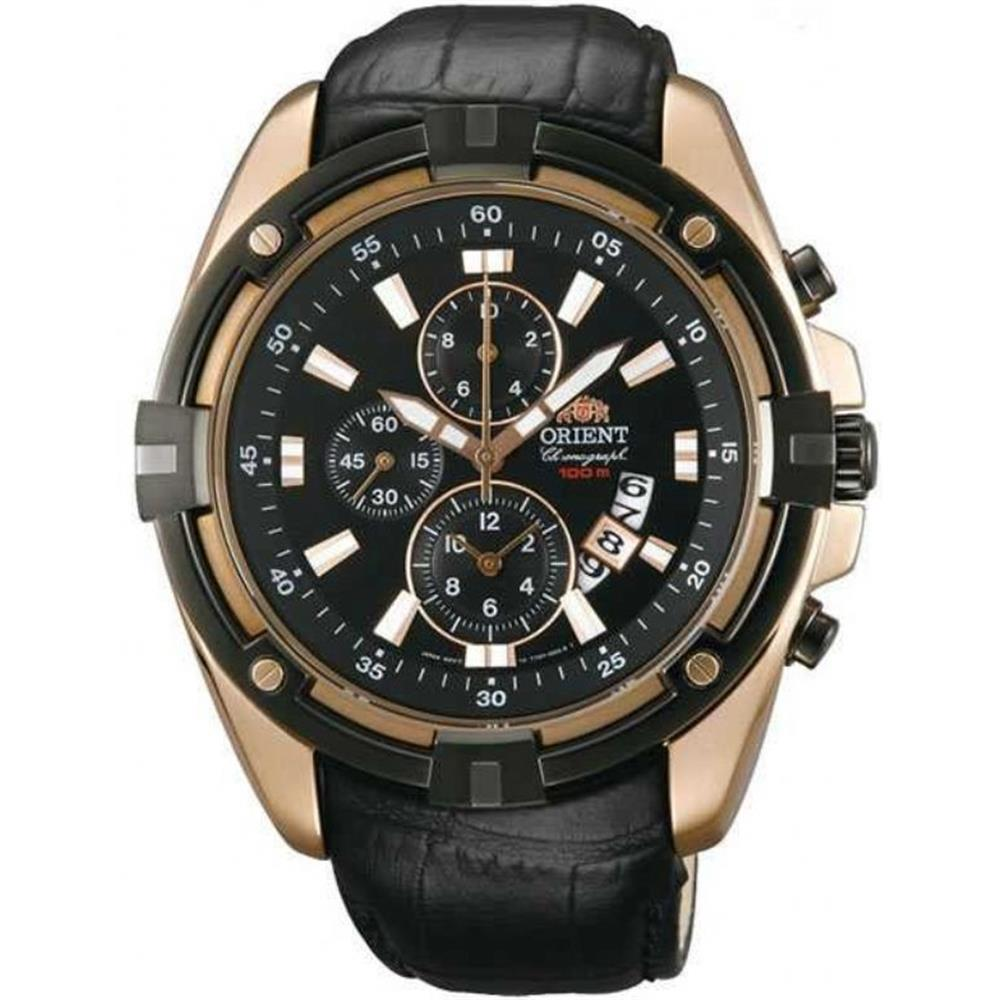 นาฬิกาผู้ชาย Orient รุ่น FTT0Y004B0, Chronograph Rose Gold Quartz Leather Strap Men's Watch