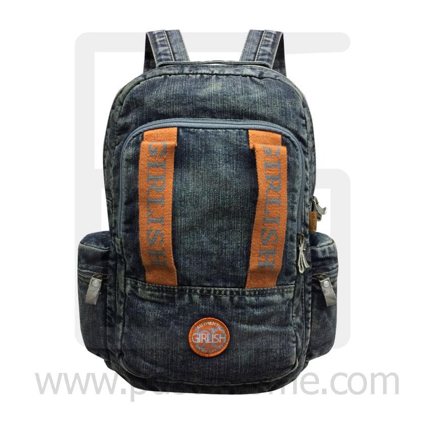 Jeans Denim Backpack, Vintage Style, High Quality, Color 2 lines, Genuine Brand