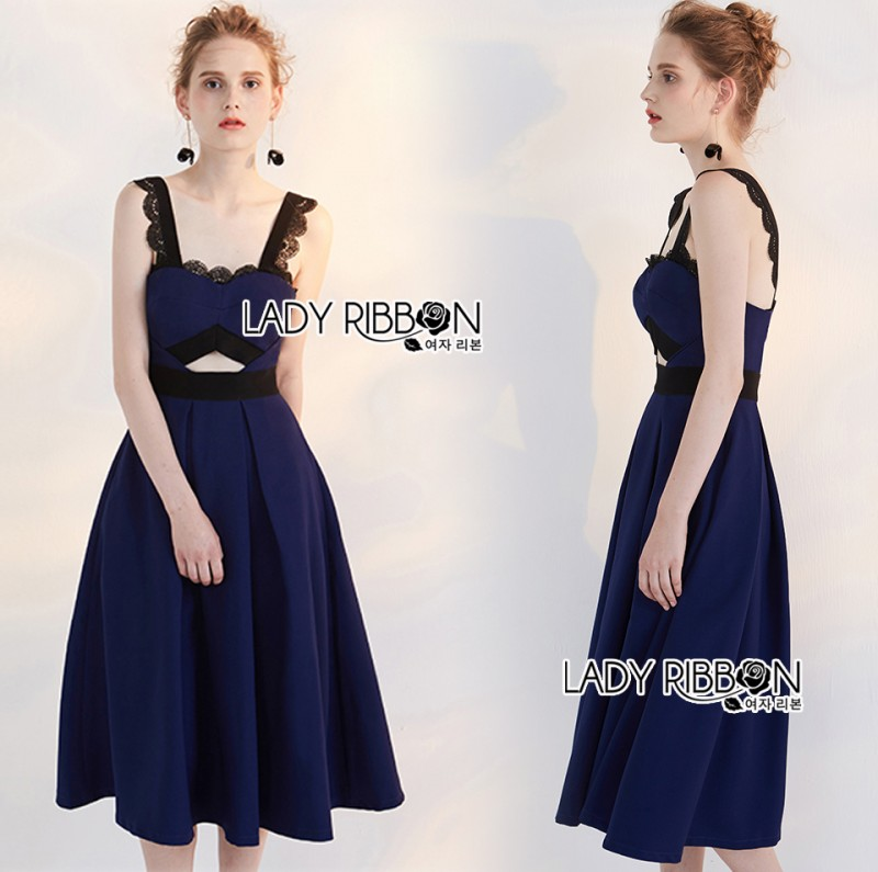 เสื้อผ้าแฟชั่นเกาหลี Lady Ribbon's Made Rosie Sexy Chic Cut-Out Electric Blue Dress