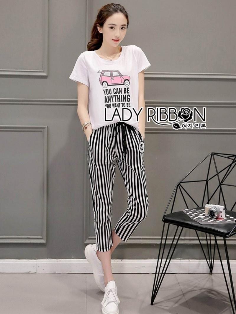 เสื้อผ้าแฟชั่นเกาหลี Lady Ribbon Thailand Lady Ribbon's Made Lady Diana Street Style Printed T-Shirt and Striped Pants Set
