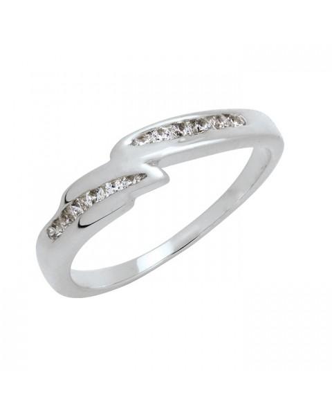 แหวนประดับเพชรฝังสอด 12 เม็ด หุ้มทองคำขาวแท้