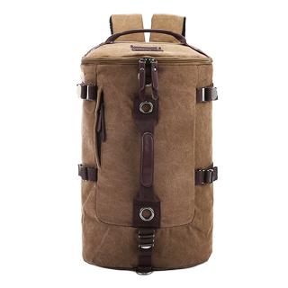 TR01 กระเป๋าทรงกระบอกใหญ่ แคนวาส สีน้ำตาล